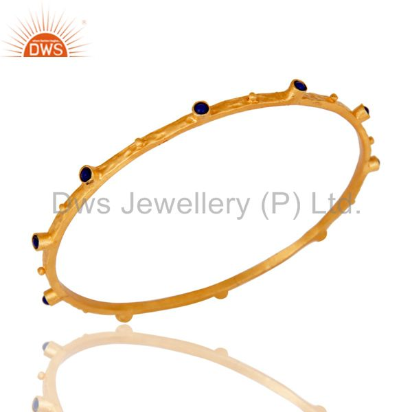 Supplier of Indian handmade blue sapphire sterling silver bangle gold plated