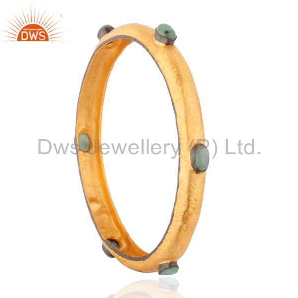 Supplier of Solid 925 silver bangle 18k gold plated hammered emerald bangle