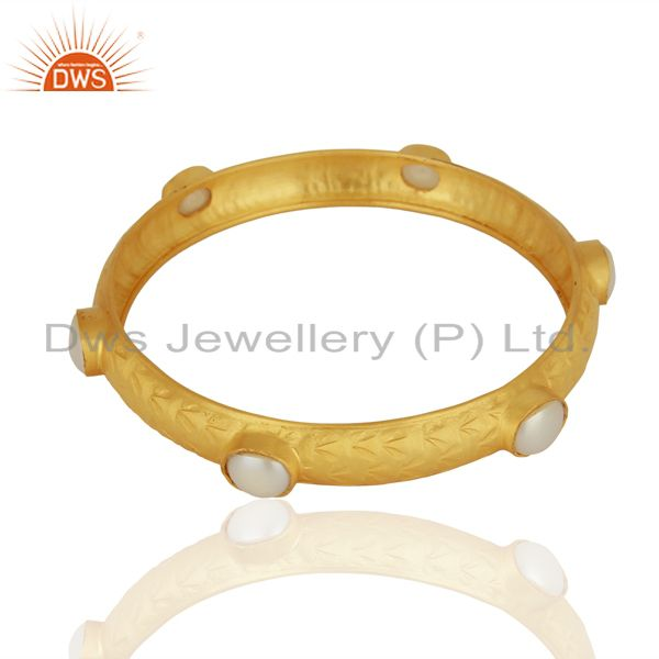 Supplier of Natural pearl gemstone gold plated 925 silver bangle manufacturer