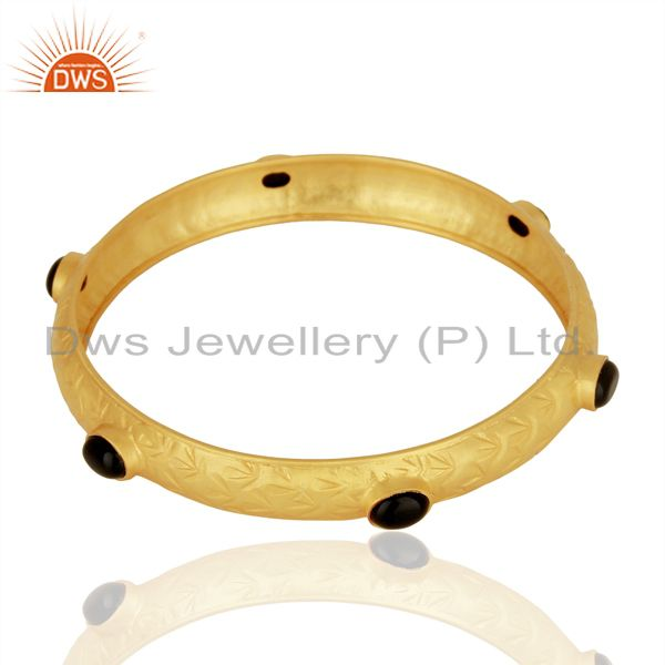 Supplier of Gold plated silver natural black onyx gemstone bangle girls jewelry