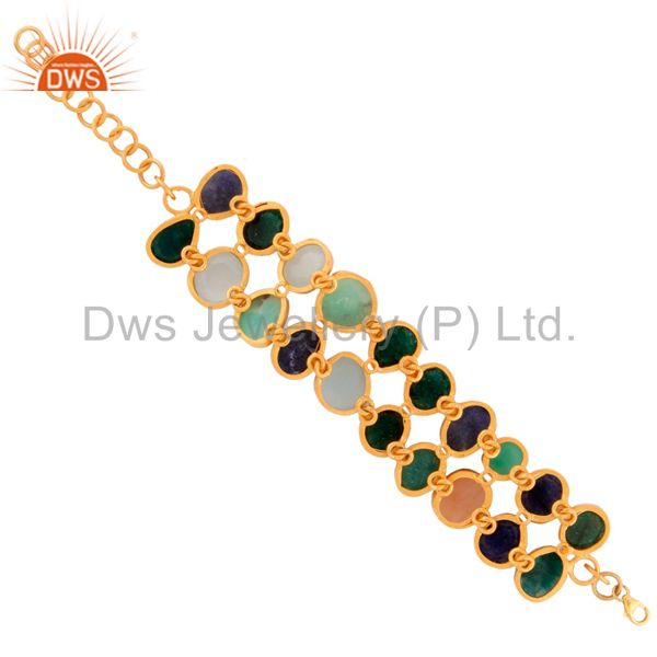 Exporter 24k Yellow Gold Plated Sterling Silver Double Row Multi Color Semi Precious Sto