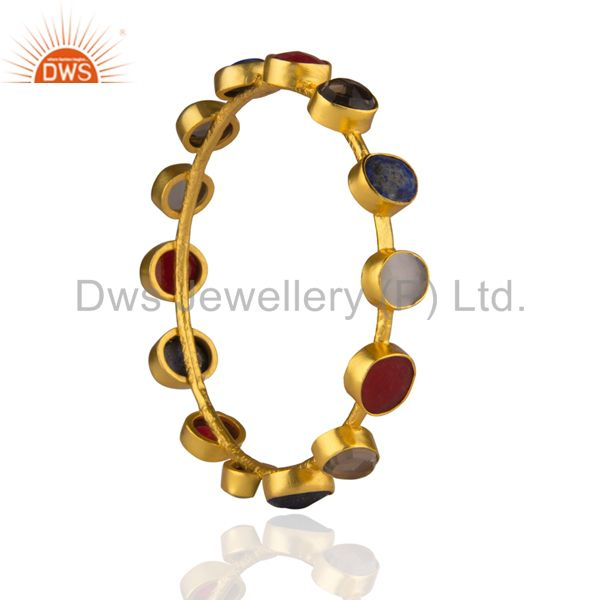 Supplier of 22k yellow gold brass lapis lazuli red aventurine gemstone bangle