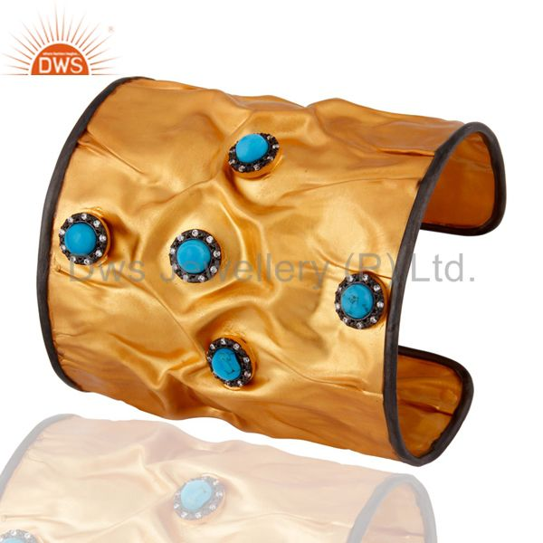 Exporter 18K Yellow Gold Plated Sterling Silver Designer Wide Cuff With Turquoise