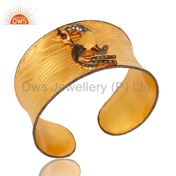 Exporter Matte Finish 24k Yellow Gold Plated Peacock Wide Cuff Bangle Jewelry With CZ