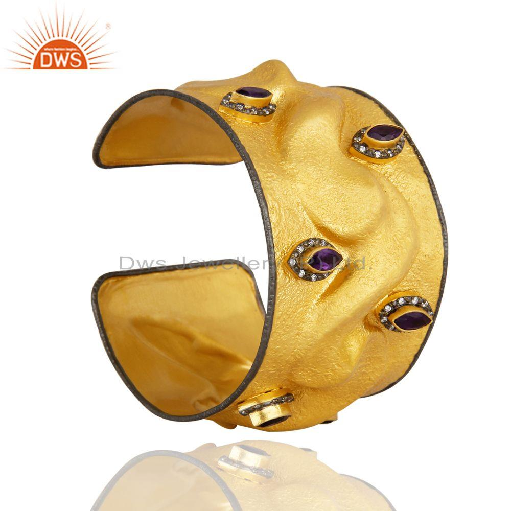 Exporter Matte Finish 18K Gold Plated Sterling Silver Amethyst And CZ Wide Cuff Bangle