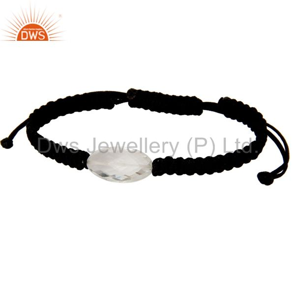 Exporter Natural Crystal Quartz Black Cord Macrame Adjustable Bracelet