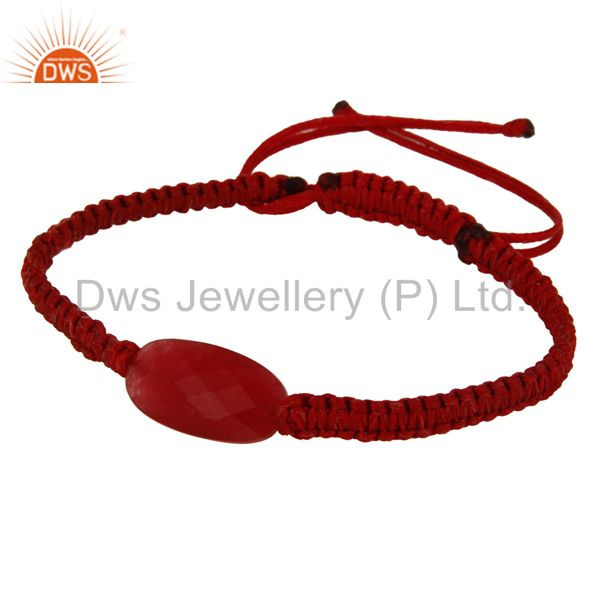 Exporter Natural Faceted Red Aventurine Gemstone Macrame Bracelet Gift Jewelry For Women