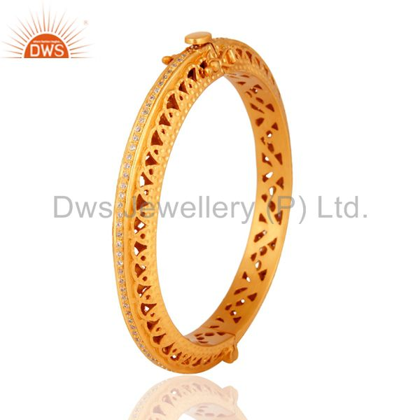 Wholesale 18K Gold Plated 925 Sterling Silver Cubic Zirconia Designer Openable Bangle