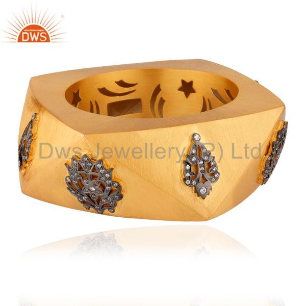 Supplier of 18k gold over 925 silver cubic zirconia wedding fashion wide bangle