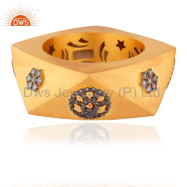 Supplier of 18k gold plated 925 silver ruby cz party wear fashion wide bangle