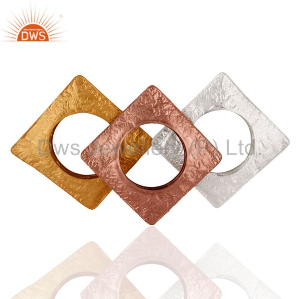 Supplier of Handcrafted 925 silver chunky square bangle gold plated 3 pcs set