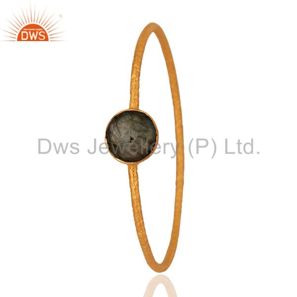 Supplier of 18k gold plated sterling silver labradorite gemstone sleek bangle