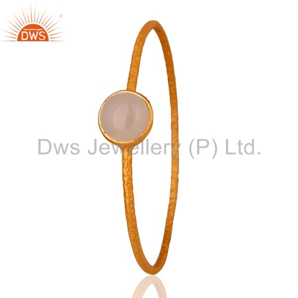 Supplier of Solid 925 silver rose chalcedony 18k yellow gold plated bangle