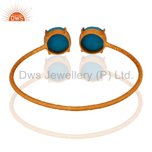 Supplier of Turquoise gemstone prong setting gold plated 925 silver bangle