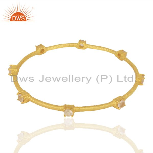 Supplier of 18k gold plated 925 sterling silver citrine gemstone bangle jewelry