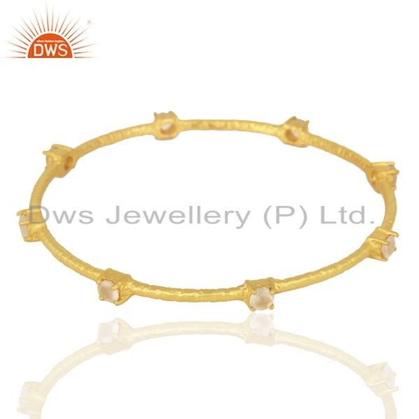 Exporter Rose Chalcedony Sleek 14K Yellow Gold Plated 925 Sterling Silver Bangle Jewelry