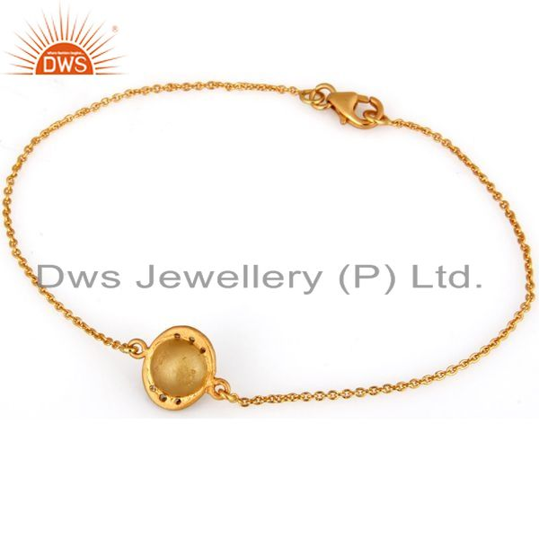 Exporter 18K Yellow Gold Plated Sterling Silver White Moonstone Chain Bracelet With CZ