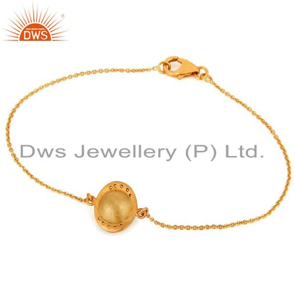 Exporter Natural Turquoise Gemstone 18k Yellow Gold Plated Fashion Chain Bracelets