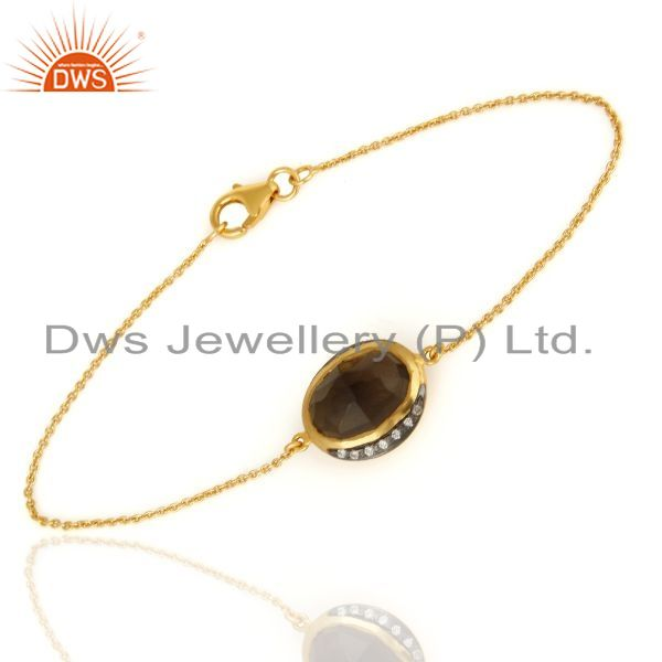 Exporter Handcrafted Gold Plated Sterling Silver Faceted Smoky Quartz & CZ Chain Bracelet