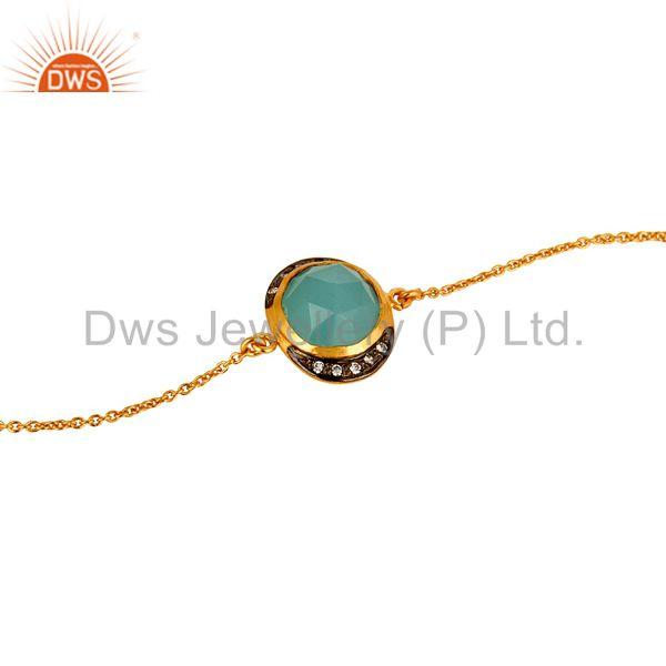 Exporter 18K Yellow Gold Plated Sterling Silver Aqua Chalcedony Designer Chain Bracelet