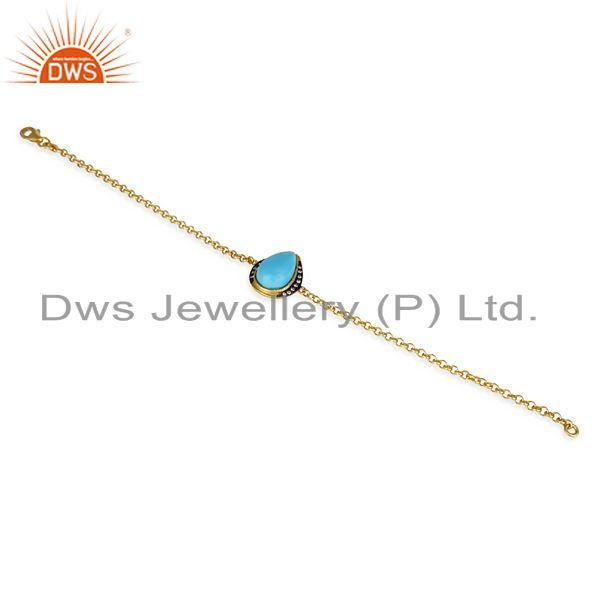 Exporter 14K Yellow Gold Plated 925 Sterling Silver Handmade Turquoise CZ Chain Bracelet
