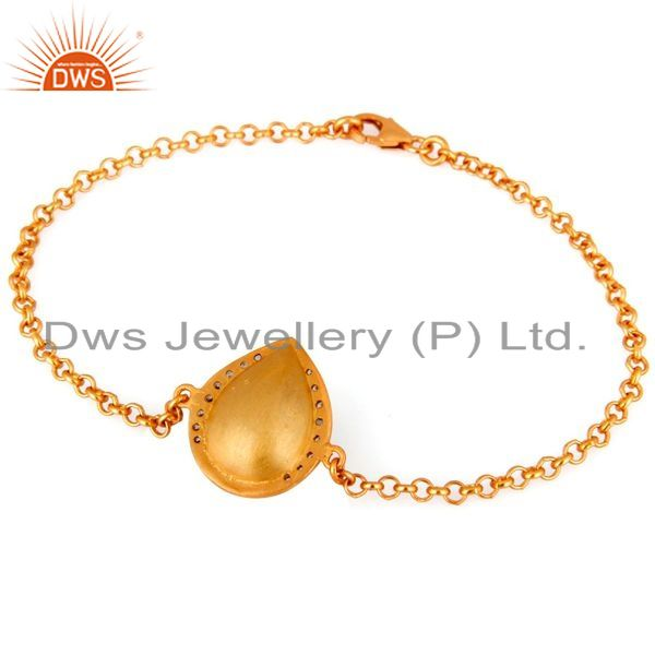 Exporter 18K Yellow Gold Plated Sterling Silver Chain Bracelet With Red Onyx And CZ