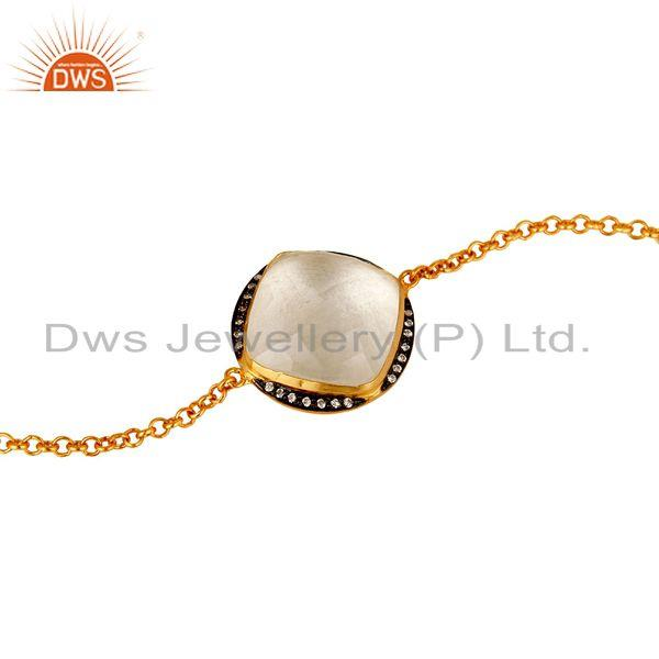 Exporter 14K Yellow Gold Plated Sterling Silver Crystal Quartz And CZ Chain Bracelet