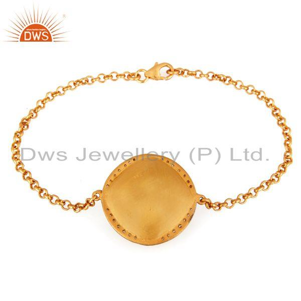 Exporter Yellow Moonstone And CZ Sterling Silver Chain Bracelet - Gold Plated Jewelry