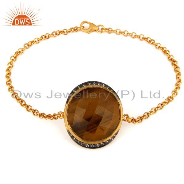 Exporter Natural Tiger Eye Gemstone 18K Gold Plated Sterling Silver Bracelet With CZ