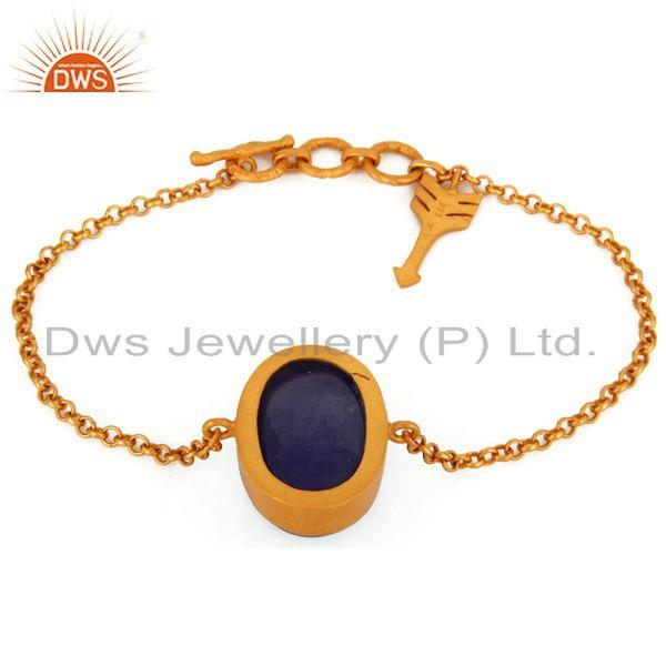 Exporter Natural Tanzanite Gemstone Bracelet In 22K Gold Over Sterling Silver Jewelry