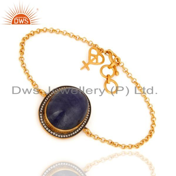 Exporter 24K Gold Plated 925 Sterling Silver Charm Chain Bracelet With Tanzanite & CZ