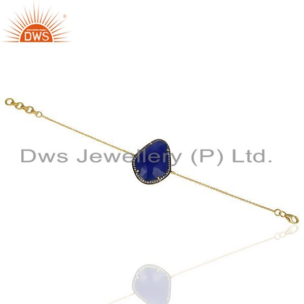 Exporter Blue Aventurine CZ 14K Yellow Gold Plated 925 Sterling Silver Chain Bracelet