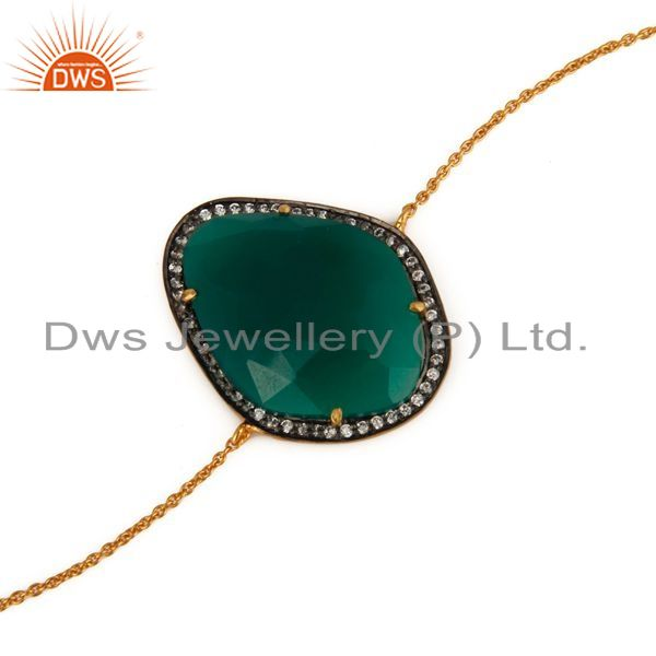 Exporter Green Onyx Gemstone 18K Gold Plated 925 Sterling Silver Chain Bracelet With CZ
