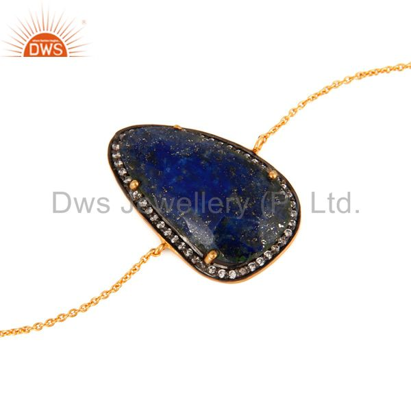 Manufacturer of Natural Lapis Lazuli Gemstone Bacelet In 18K Gold Over Sterling Silver Jewelry