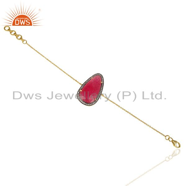 Exporter Red Aventurine CZ 14K Yellow Gold Plated 925 Sterling Silver Chain Bracelet