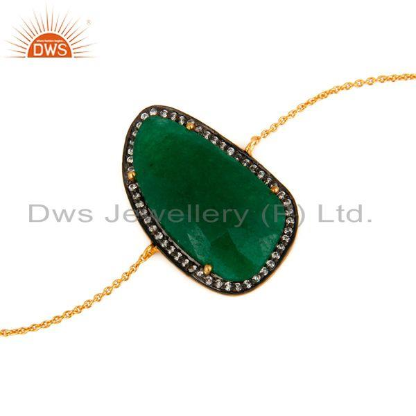 Exporter Green Aventurine Gemstone Sterling Silver With 18K Gold Plated Chain Bracelets