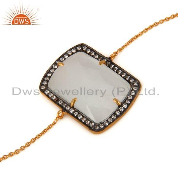 Exporter Lab-Created White Moonstone 925 Sterling Silver Bracelet With 18K Gold Plated