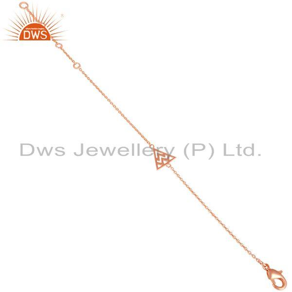 Exporter 14K Rose Gold Plated 925 Sterling Silver Art Deco Fashion Chain Bracelet