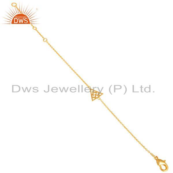 Exporter 14K Yellow Gold Plated 925 Sterling Silver Art Deco Fashion Chain Bracelet