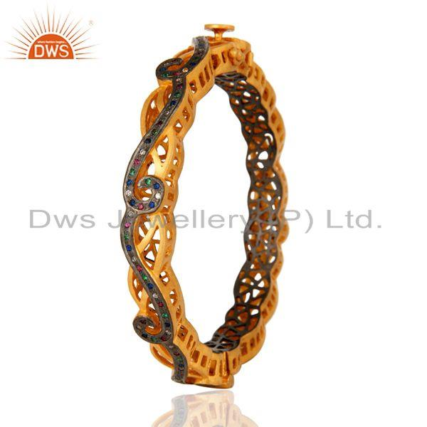 Exporter Multi Color Cubic Zirconia Sterling Silver Fashion Designer Bangle - Gold Plated
