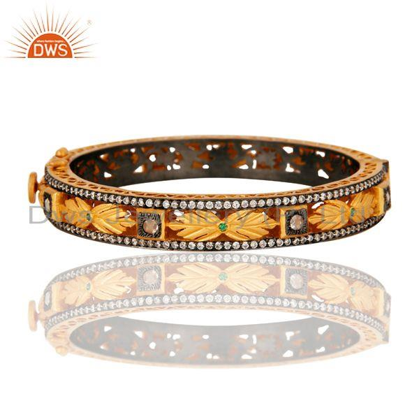 Exporter 18K Yellow Gold Plated Sterling Silver Cubic Zirconia Designer Openable Bangle