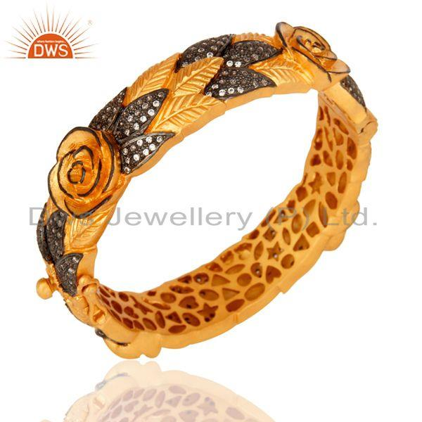 Manufacturer of 14K Gold Plated Sterling Silver CZ Cubic Zirconia Openable Style Bangle Jewelry