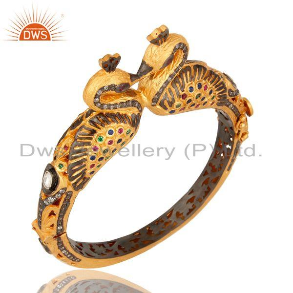 Supplier of 18k gold plated 925 silver mixed color cz double peacock bangle