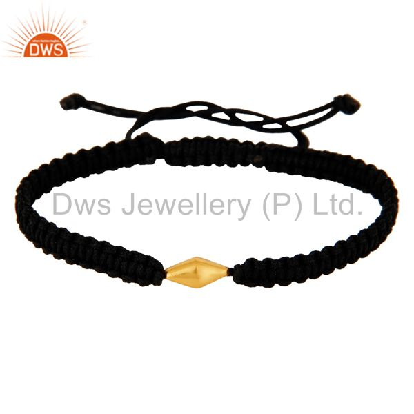 Exporter Handmade 18-Karat Solid Yellow Gold Charm Gift Fashion Macrame Bracelet Jewelry
