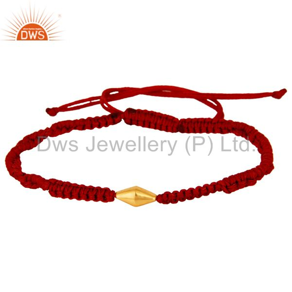 Exporter 18K Solid Yellow Gold Handmade Red Macrame Fashion Bracelet Jewelry