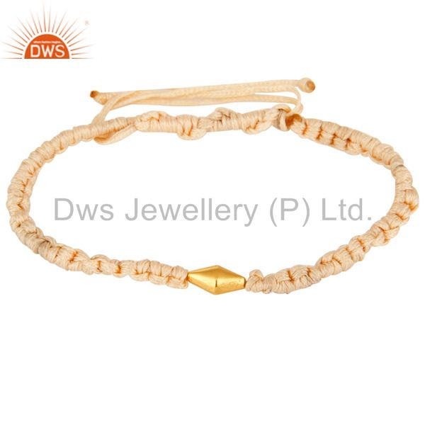 Exporter 18K Yellow Gold Bead Unisex Macrame Bracelet With Adjustable Slip knot