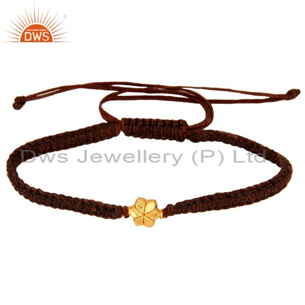 Exporter Handcrafted Solid 18Kt. Yellow Gold Womens Fashion Bracelets Macrame Jewelry