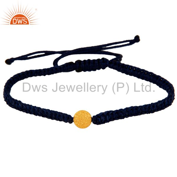 Exporter 18-Carat Yellow Gold Handcrafted Blue Macrame Fashion Bracelet Jewelry