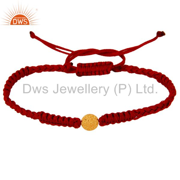 Wholesale Solid 18K Yellow Gold Finding Charm Red Fashion Macrame Bracelet