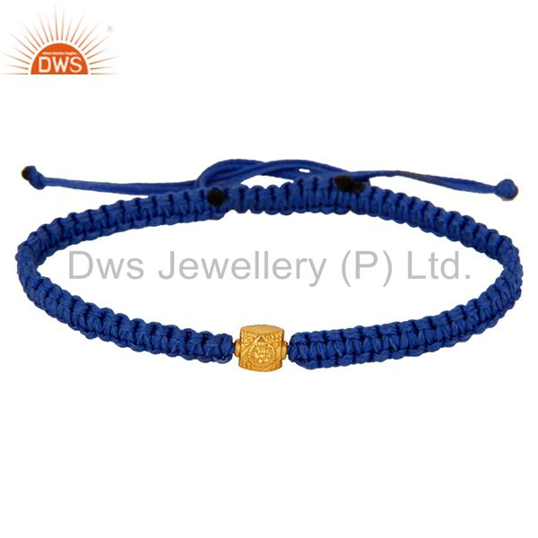 Supplier of 18-Carat Solid Yellow Gold Bead Blue Macrame Friends Gift Bracelet Jewelry